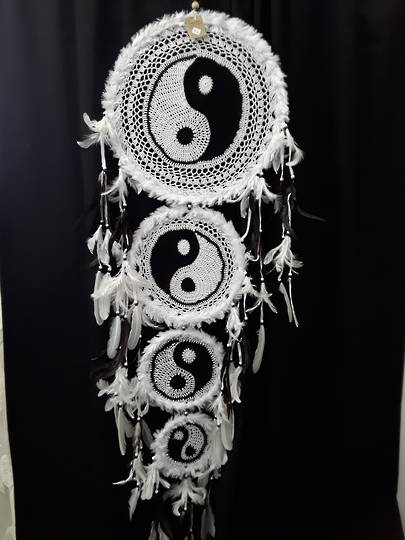 Giant White Ying and Yang Dreamcatcher