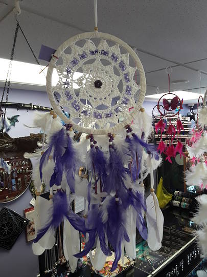 White and Purple Crochet Dreamcatcher with Amethyst Flower