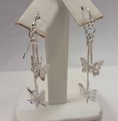Sterling Silver Twin Butterflies Earrings