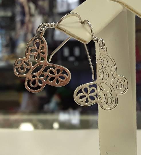 Sterling Silver Flowers Cut out Butterfly Earrings