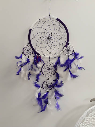 White and Purple Dreamcatcher 22cms