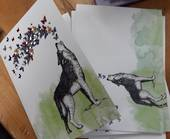 Wolf Howling Butterflies Card and Envelope