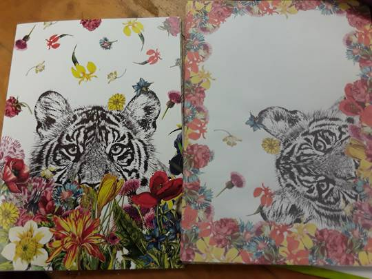 Tiger and Flowers Card and Envelope