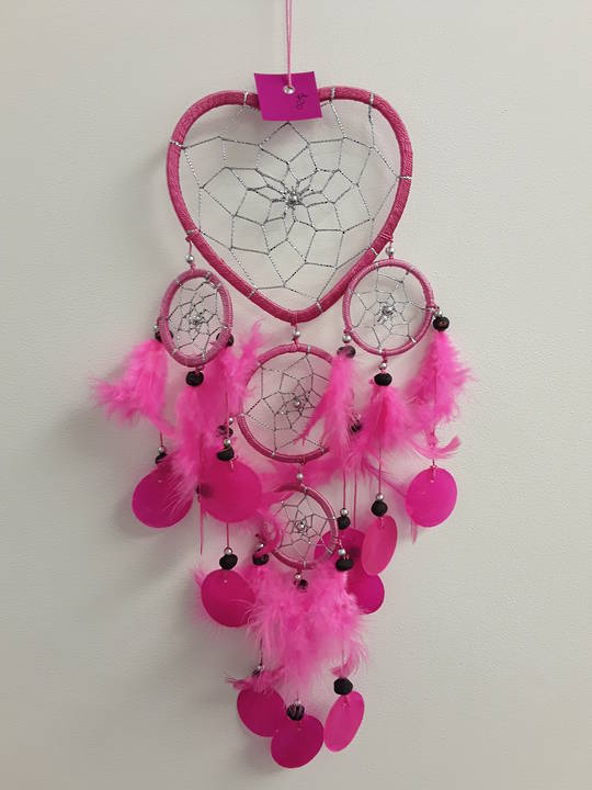 11.5ms Pink Heart with Shells Dreamcatcher