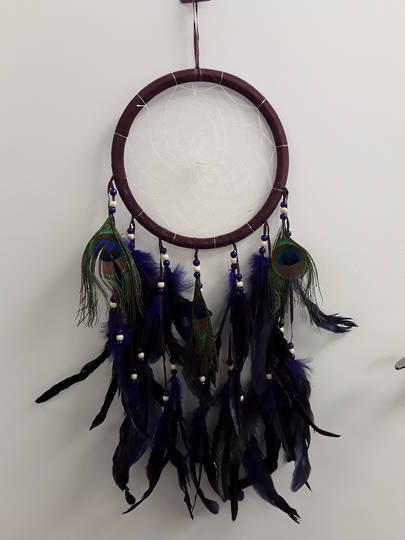 Purple Peacock Feather Dreamcatcher