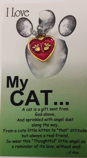 I Love My Cat Angel Pin/Brooch