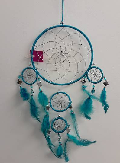 Teal with Mirrors Dreamcatcher 16.5cms