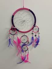 Cerise pink and Purple Mirrors Dreamcatcher 16.5cms