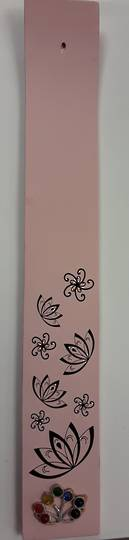 Pink Lotus Wooden Incense Holder
