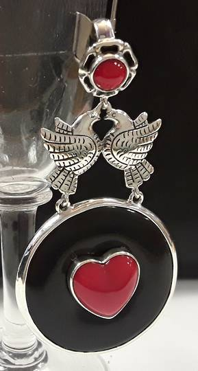 Frida Kahlo Inspired Twin Doves and Heart Onyx Pendant