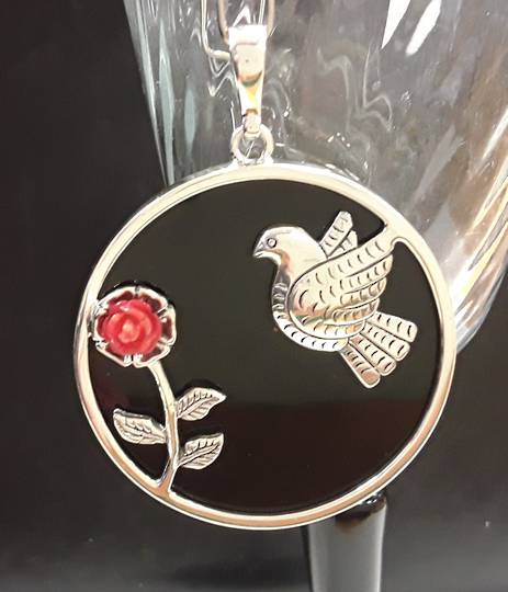 Frida Kahlo Inspired Dove and Coral Rose on Onyx Pendant