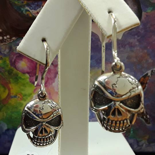 Sterling Silver Flat Skull Earrings