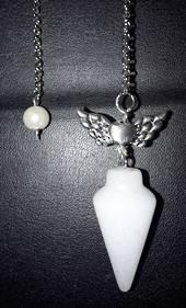 Snow Quartz Pendulum with Angel Wings (pma16)