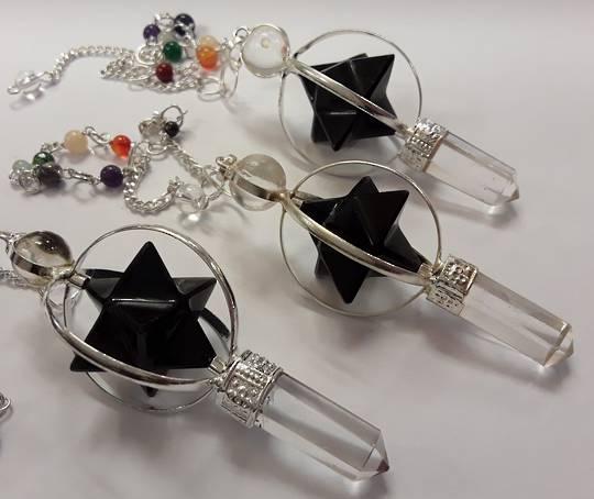 Black Tourmaline Merkaba and Quartz Pendulum
