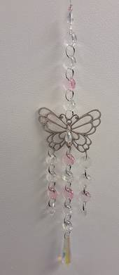 Pink Trailing Butterfly Suncatcher