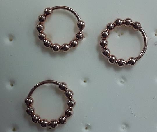 Rose Gold Multiple Ball Nose Ring 8mms