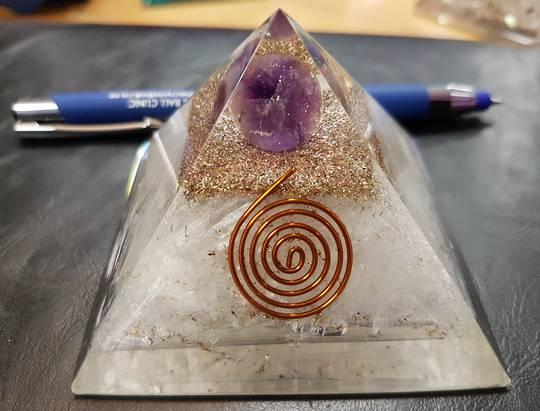 Amethyst Ball with Selenite Orgonite Pyramid
