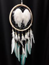 Angel Wings and Teal Feathers Dreamcatcher 26cms