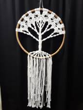 Large White Crocheted Tree of Life Dreamcatcher