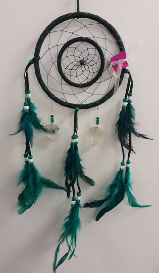 Green Dreamcatcher with Quartz Crystals