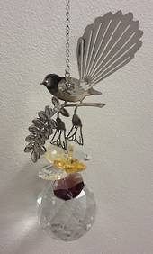 Fantail on Kowhai 2 Tone Yellow Brown Suncatcher