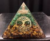 Large Tree of Life with Tigers Eye and Green Aventurine  Orgonite Pyramid