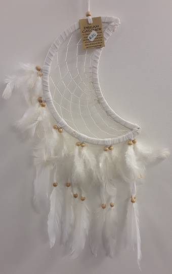 White Moon Feathered Dreamcatcher
