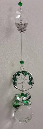 Green Aventurine Tree Angel Suncatcher