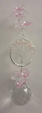 Rose Quartz Tree Crystals Suncatcher