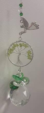 Peridot Tree Hanging Angel Suncatcher