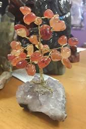 Carnelian Crystal Tree on Amethyst Base