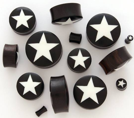 Wooden Star Ear Plugs 26mm