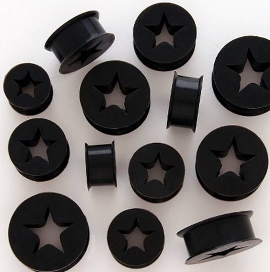 Silicone Black Star Ear Plug 20mm