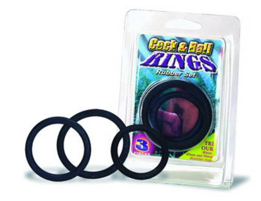 BLACK 3 PIECE COCK RING SET