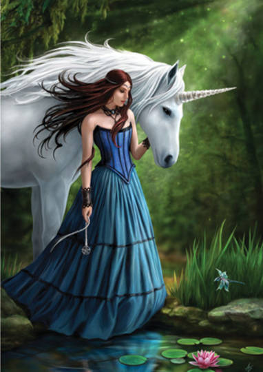 """Contemplation"""" Unicorn Greeting Card by Anne Stokes"""