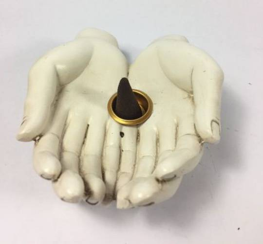 Cream Double Buddha Hand Cone Incense Burner