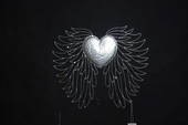 SILVER HEART WITH WINGS