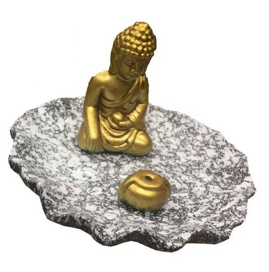 Incense Holder Sitting Gold Buddha