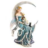 Moon Fairy in Blue Dress with Black Kitten