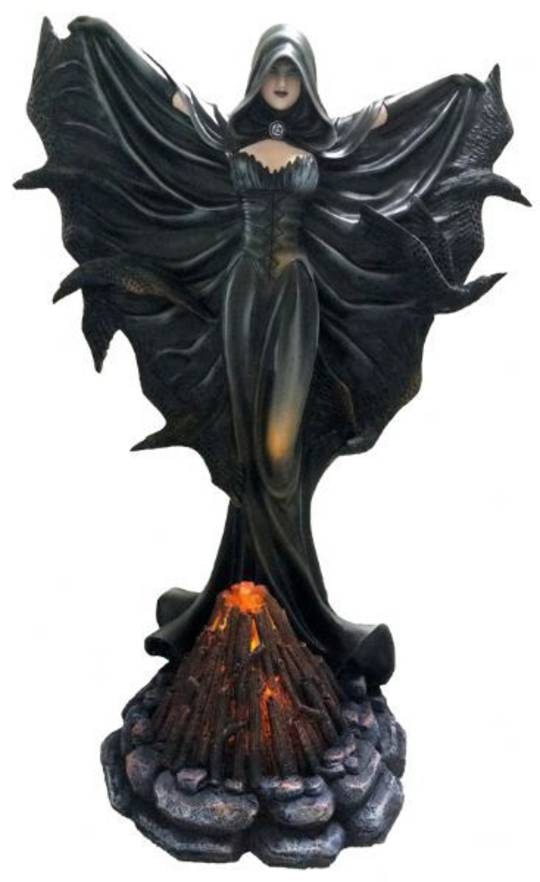 Raven Fairy Standing with Bonfire Light