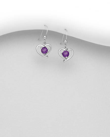 Sterling Silver Heart Hook Earrings Decorated With Amethyst
