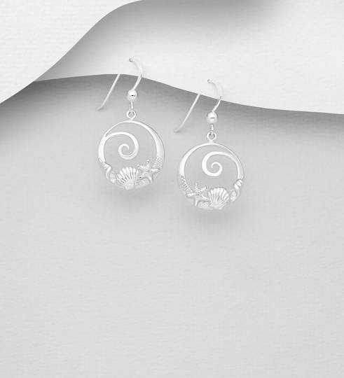 Sterling Silver Shell, Starfish and Wave Hook Earrings