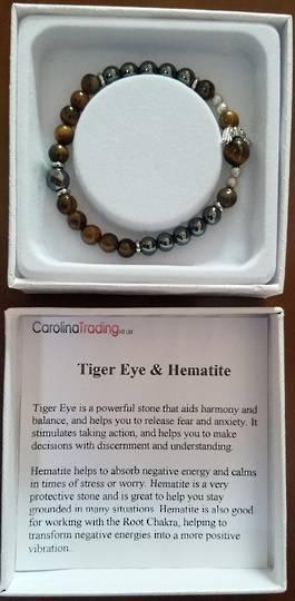 Tigers Eye and Hematite Angel Bracelet