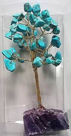 Turquoise Howlite Crystal Gem Tree 15cms