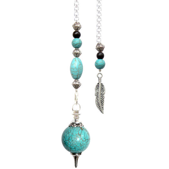 Turquoise Howlite Sphere Feather Pendulum (p606)
