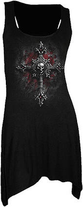 VAMP FANGS - Goth Bottom Camisole Dress Black XL