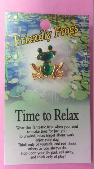 Friendly Frogs Time to Relax Pin