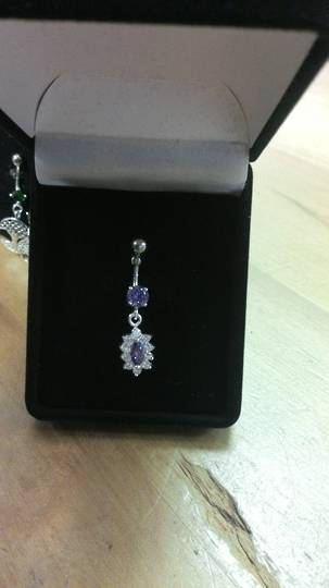 Light Purple and Clear CZ Navel bar