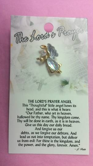 The Lords Prayer Angel Brooch