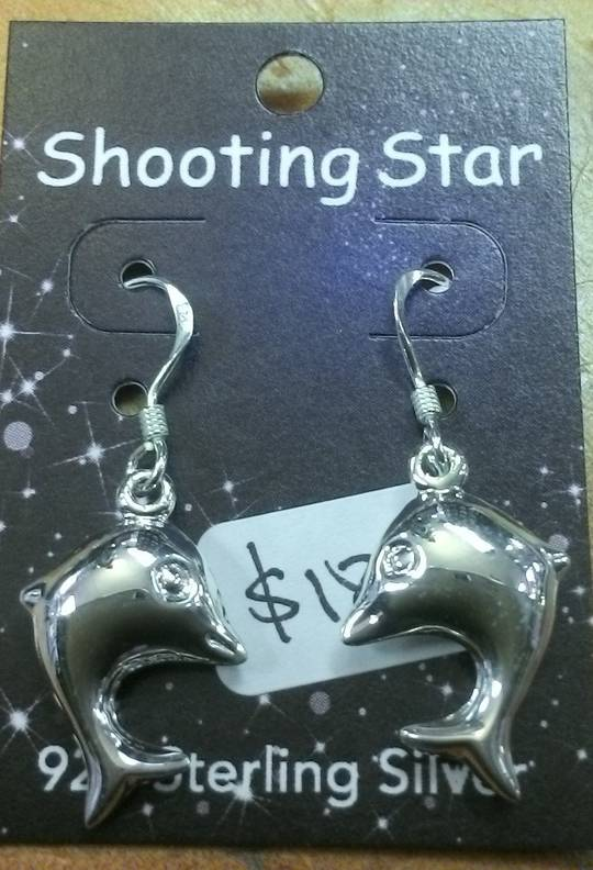 Silver Dolphin Hook Earrings